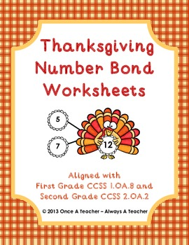 Thanksgiving Number Bond Worksheets
