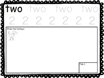 Thanksgiving Number Book {number words, making sets, tallying}