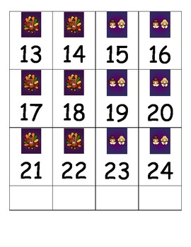 Thanksgiving Number Cards 1-40