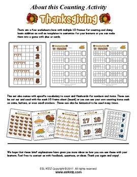 Thanksgiving Number Counting Activities