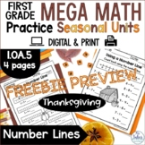 Thanksgiving Number Lines Counting On and Counting Back FR