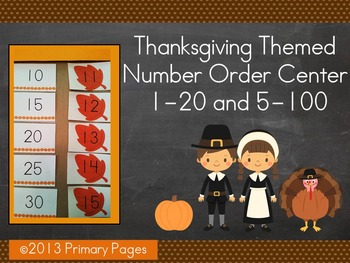 Thanksgiving Number Order Math Center
