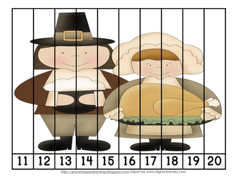 Thanksgiving Number Order and Skip Counting Puzzles