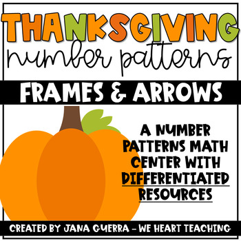 Thanksgiving Number Patterns- A Frames and Arrows Math Center (Differentiated)