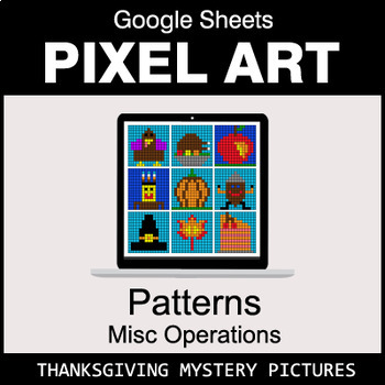 Thanksgiving - Number Patterns: Misc Operations - Google Sheets Pixel Art