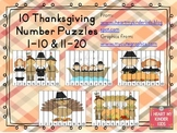 Thanksgiving Number Puzzles 1-10 & 11-20 K.CC.1