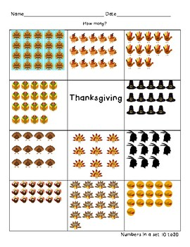 Thanksgiving Number Quantity 10-20