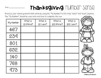 Thanksgiving Number Sense: 10 More, 10 Less, 100 More, 100 Less