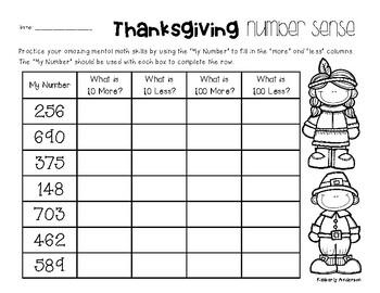 Thanksgiving Number Sense: 10 More, 10 Less, 100 More, 100 Less