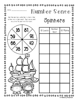 Thanksgiving Number Sense: 10 More, 10 Less, 100 More, 100 Less Spinners