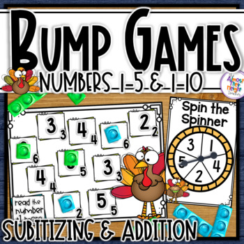 Thanksgiving Number Sense Bump Games for numbers 1-5 & 1-10