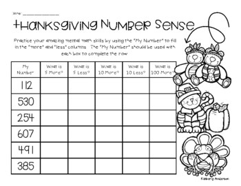 Thanksgiving Number Sense Mental Math 5 More, 5 Less, 10 More, 10 Less, 100 More
