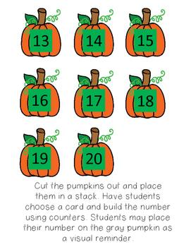 Thanksgiving Number Sense math centers