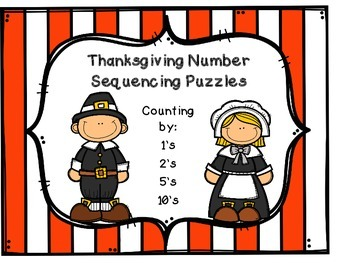 Thanksgiving Number Sequencing Puzzles: FREEBIE