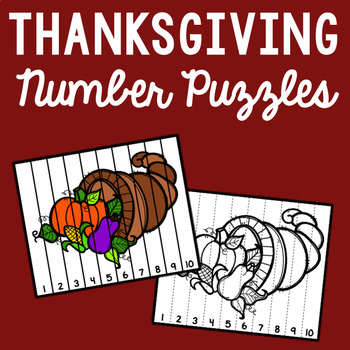 Thanksgiving Number Sequencing - Set of 10 Puzzles