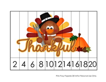 Thanksgiving Number Counting Puzzles - 5 Different Designs - Skip Count by 2