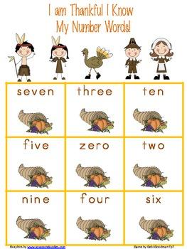 Thanksgiving Number Word Bingo