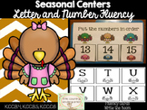 Turkey Number and Letter Cards: Fluency and Write the Room