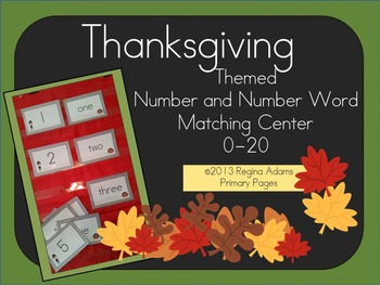 Thanksgiving Number and Number Word Match Math Center