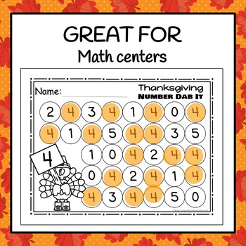 Thanksgiving Numbers 0-25 Dab It Worksheets