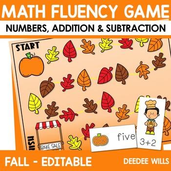 Math Fluency:  Harvest Time Editable