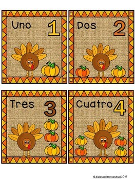 Thanksgiving Numbers 1-10- Bilingual