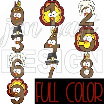 Thanksgiving Clip Art  - Turkey Numbers {jen hart Clip Art}