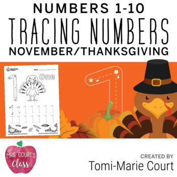 Color & Trace Numbers 1-10: Thanksgiving