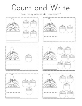 Thanksgiving Numbers & Counting Practice Pack