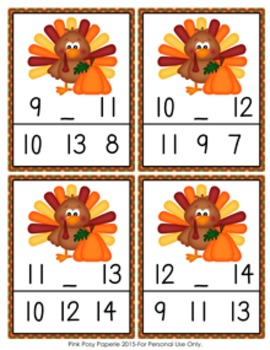 Thanksgiving Turkey Numbers In Between Clip Cards