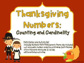 Thanksgiving Numbers:Counting and Cordinality-Math Center-generic theme included