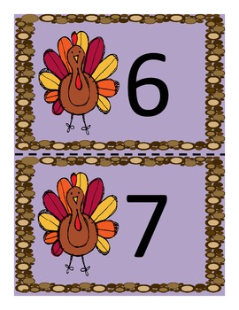 Thanksgiving Numeral Match-up Game