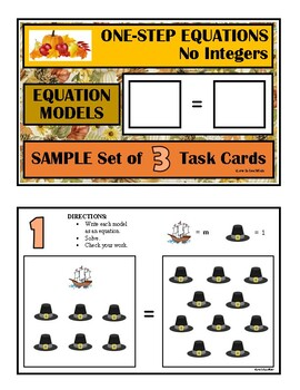 Thanksgiving ONE STEP EQUATIONS MODELS Algebra Tiles with NO INTEGERS SAMPLE