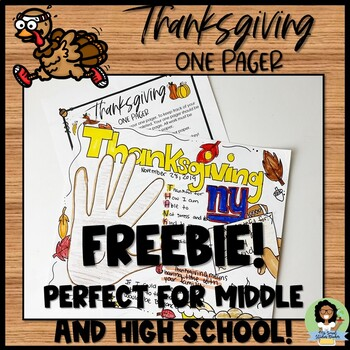 Thanksgiving One Pager Activity for Middle School and High School FREEBIE!