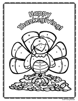 One-Step Equations Coloring Page - Thanksgiving