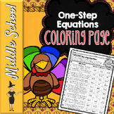 ONE STEP EQUATIONS MATH COLOR BY NUMBER, QUIZ - THANKSGIVING