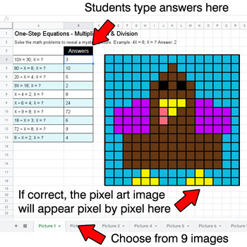 Thanksgiving - One-Step Equations - Multiplication & Division - Google Sheets