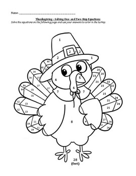 Thanksgiving One and Two Step Equations Turkey