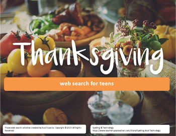 Thanksgiving Online Web Search for Teens - Fillable PDF