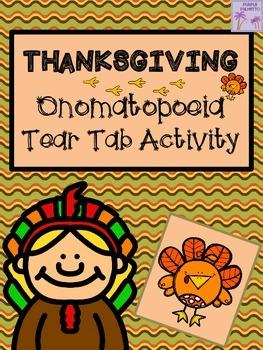 Thanksgiving Onomatopoeia Tear Tab Writing Activity