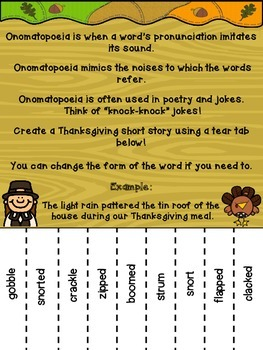 Thanksgiving Onomatopoeia Tear Tab Writing Activity by Purple Palmetto