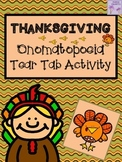 Thanksgiving Onomatopoeia Tear Tab Writing Activity