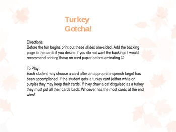 Thanksgiving Open Ended Game- Turkey Gotcha