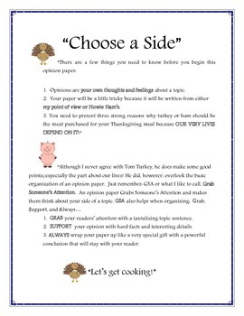 "Thanksgiving Opinion Piece ""Turkey or Ham?"" Common Core"