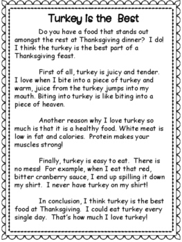 Thanksgiving Opinion Writing: The Best Food at a Thanksgiving Feast is...
