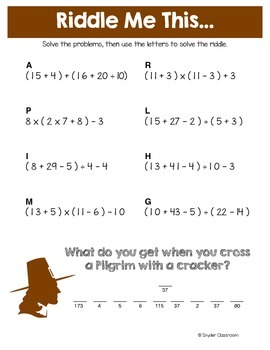 Order of Operations Thanksgiving Math Riddles
