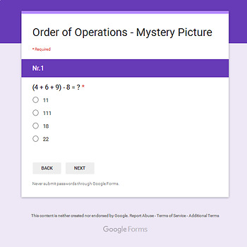 Thanksgiving: Order of Operations - Math Mystery Picture - Google Forms