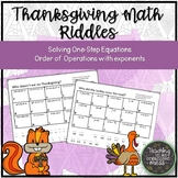 Thanksgiving Math Order of Operations Riddle