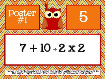 Thanksgiving Order of Operations Scavenger Hunt - Around the Room Math