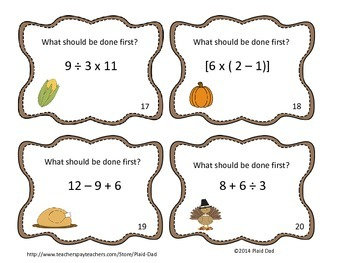 Thanksgiving Order of Operations Task Cards